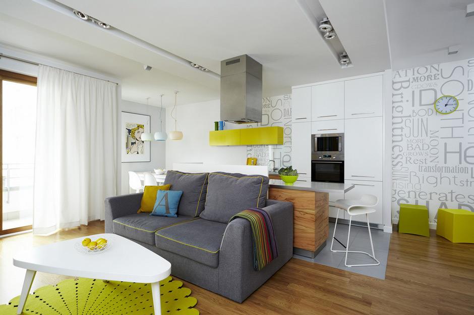 Дизайн квартир с яркими акцентами