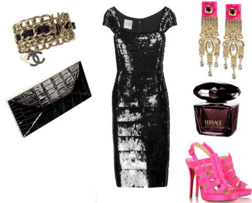 Что подходит под черное платье - модные сеты -
