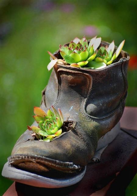 Цветочная клумба в ботинках, босоножках, тапочках и кроссовках - 23 фото