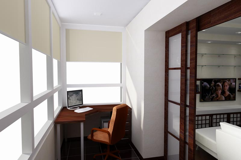 """Дизайн балкона в роли комнаты отдыха и рабочей зоны """" информ."""