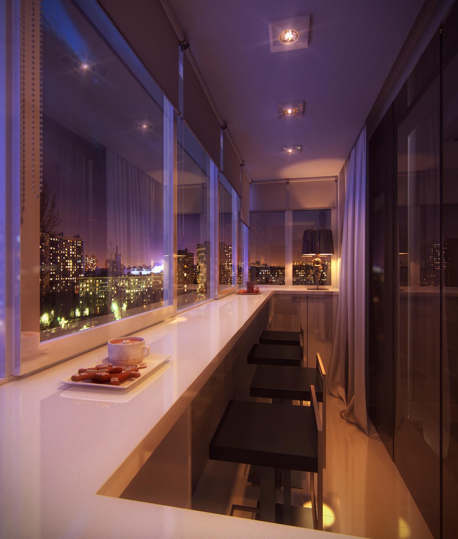 Дизайн большого балкона в квартире.