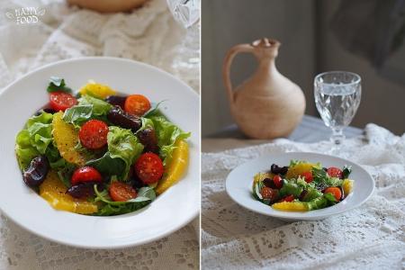 Салат с апельсином , финиками и базиликом (Рецепт)